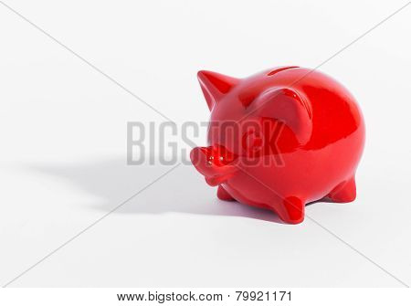 Red Ceramic Piggy Bank Or Money Box On White
