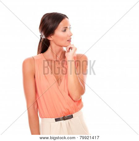 Beautiful Lady With Hand On Chin Wondering