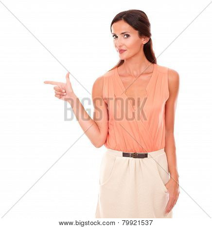 Fashionable Female Pointing To Her Right