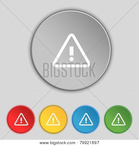 Attention Caution Sign Icon. Exclamation Mark. Hazard Warning Symbol. Set Colour Buttons. Vector