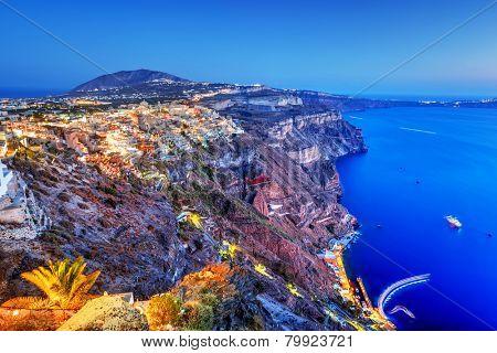 Fira, the capital of Santorini island, Greece at night. Aegean Sea