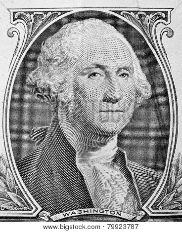 George Washington portrait on one dollar bill. Close up. USD, American Dollar, The United States currency, money concept