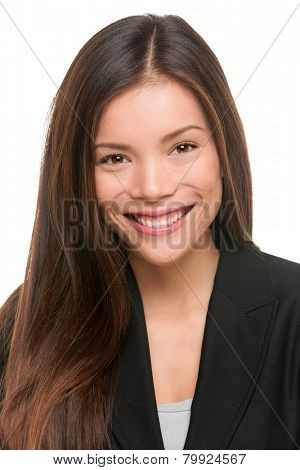 Asian business woman professional portrait. Young female businesswoman close up portrait isolated on white background. Mixed race Asian Caucasian female model in her twenties.