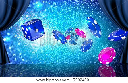 Stage with casino coins and dice flying out at the viewer