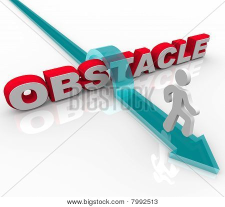 Obstacle - Man Jumping Over Word On Arrow