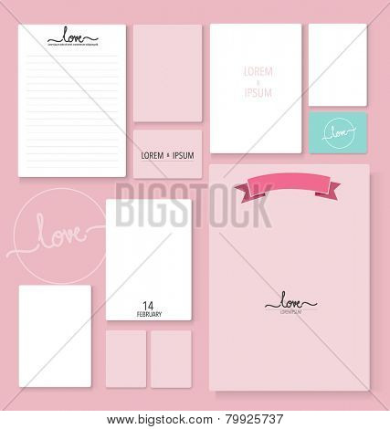 Collection of romantic paper design. Vector illustration.