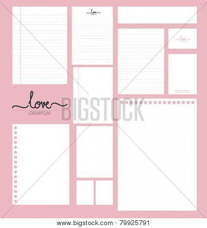 Collection of various white paper designs (paper sheets, lined paper and note paper)