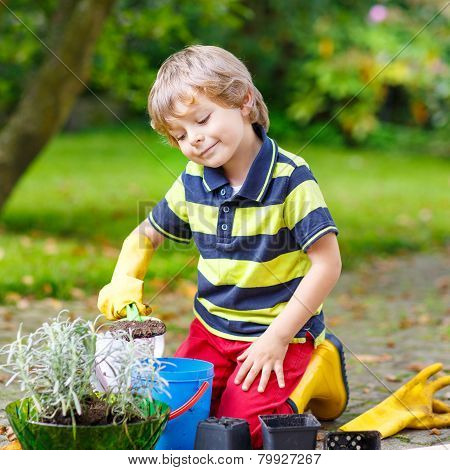 Funny Little Boy Gardening And Planting Flowers In Home's Garden