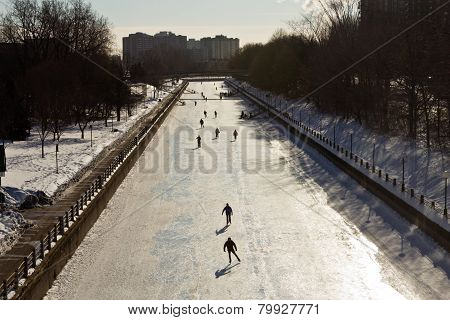 Ottawa, Canada - February 16: The Rideau Canal In Ottawa, Canada A Unesco World Heritage Site