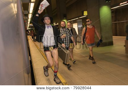 A Man Without Pants Running In The Metro Station During The