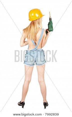 Girl With Drill Over White