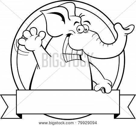 Cartoon elephant with a banner.