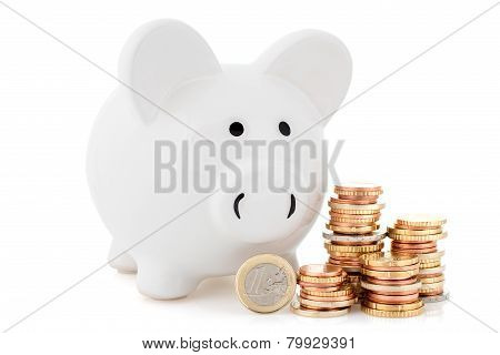 Piggy Bank And Coins Stack