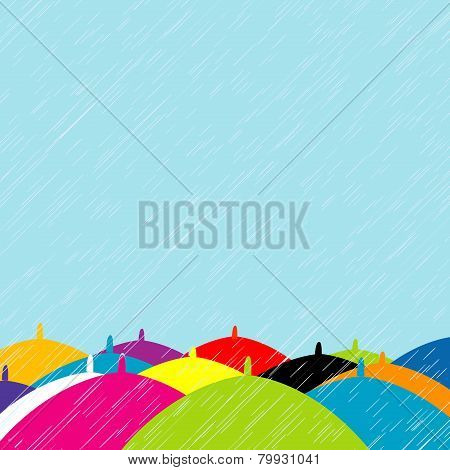 Summer Rain With Colored Umbrellas Background