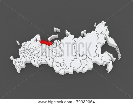 Map of the Russian Federation. Nenets Autonomous Okrug. 3d