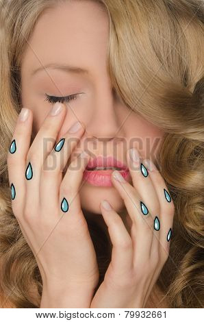 Portrait Of Woman With Tears In Hands