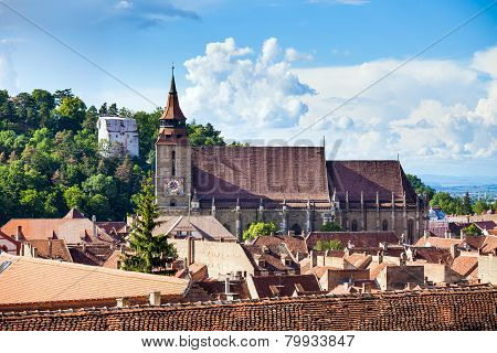The Black Church Cathedral And The White Tower In Brasov Medieval City