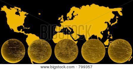 world map & globe gold