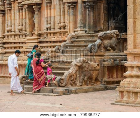 Thanjavour, India - February 14: An Unidentified Indian People In National Costumes Enter The Brihad