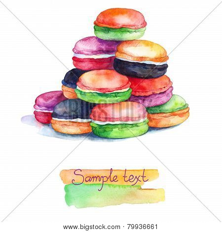 Colorful Watercolors Macaroons