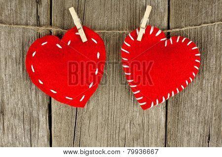 Cloth hearts on clothesline