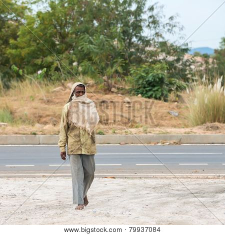 Trichy, India - February 15: An Unidentified Rural Man Is Covering His Face Clothing. India, Tamil N