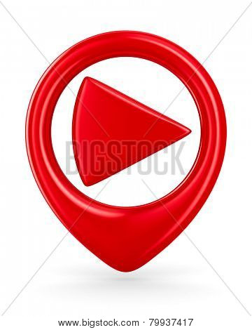 play sign on white background. Isolated 3D image