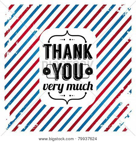 Thank You Card On Tricolor Grunge Background.