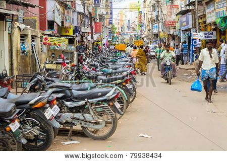 Madurai, India - February 15: Indian City Street Full Of An Unidentified People Which  Visit Every D