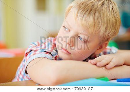 Adorable schoolboy at lesson