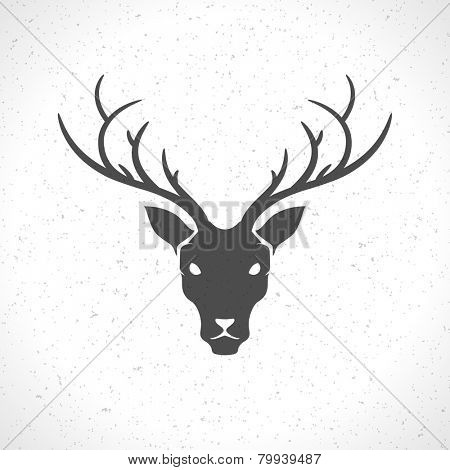 Deer head and horns face logo emblem template for business or t-shirt design. Vector Vintage Design Element.