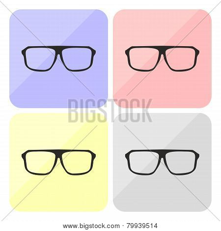 Glasses vector colorful set isolated on white background