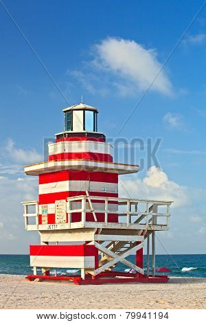 Miami Beach Florida red and white Art deco lifeguard house