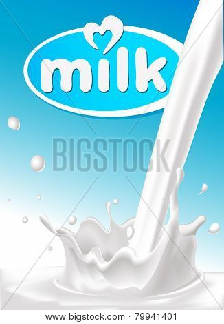 Milk Design With Pouring Splash Of Milk  And Blue Background