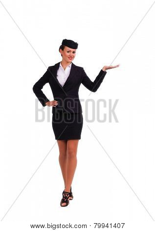 beautiful young flight attendant in black clothing isolated on white background