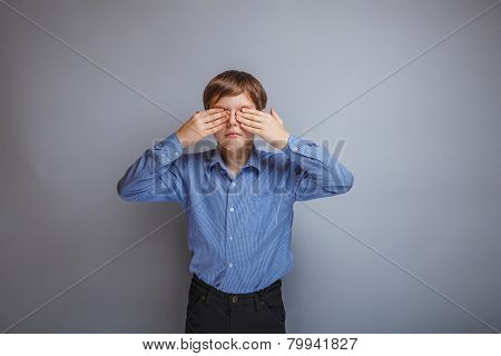 teenager a boy Caucasian appearance eyes closed hands
