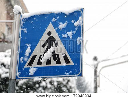 Pedestrian Crossing Sign In Mountain Village