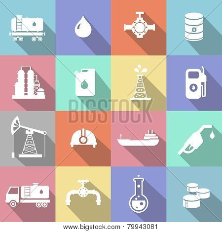 Oil industry petrol gasoline processing symbols icons set