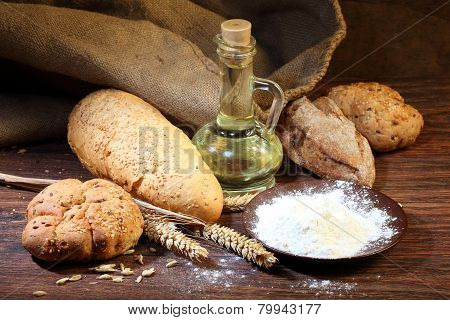 Preparation Of The Test For A Home-made Bread Batch, A Flour, Salt, Oil