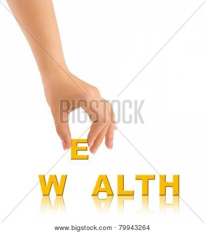 Hand and word Wealth isolated on white background