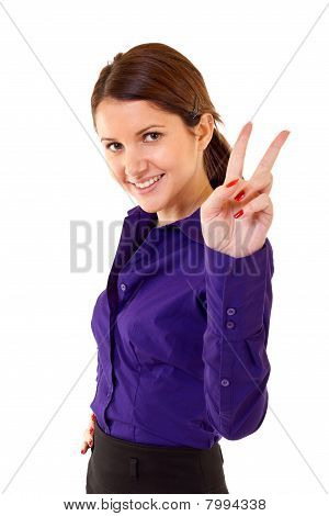 Woman Making Victory Sign