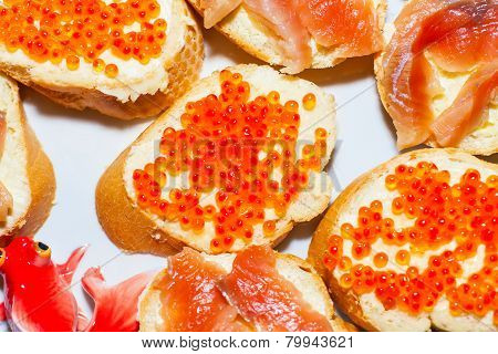 Sandwiches with red fish caviar