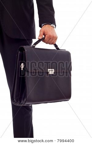 Business Man Holding A Suitcase