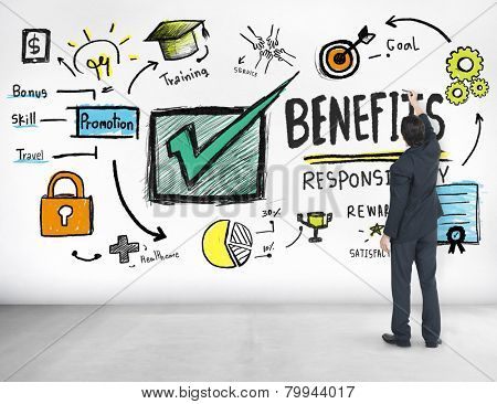 Benefits Gain Profit Earning Income Businessman Ideas Concept