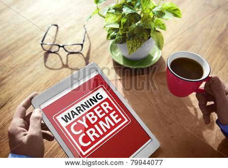 Digital Device Wireless Browsing Warning Cyber Crime Concept