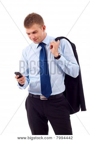 Business Man Texting On Phone