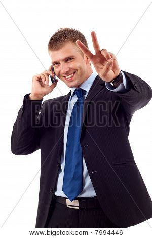 Man Making Victory Sign