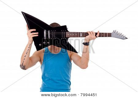 Player Holding His Guitar Over Face
