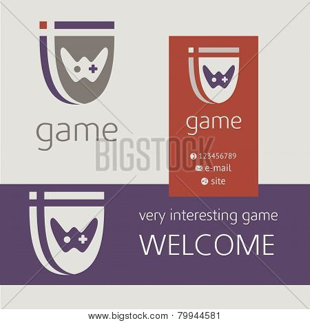 Gaming console controller vector logo. Buziness card, banner.