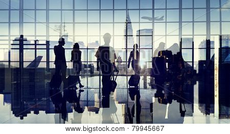 Business People Silhouette Cabin Crew Airport Professional Occupation